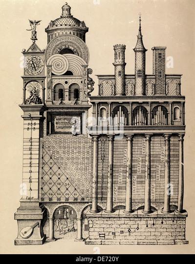 Der Tempel der Musik von Robert Fludd, 1617. Künstler: anonym Stockbild