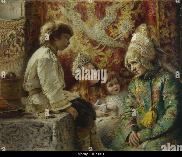 Oma mit Kindern (Großmutter Märchen), 1882. Künstler: Makowski, Konstantin Yegorovich (1839-1915) Stockbild