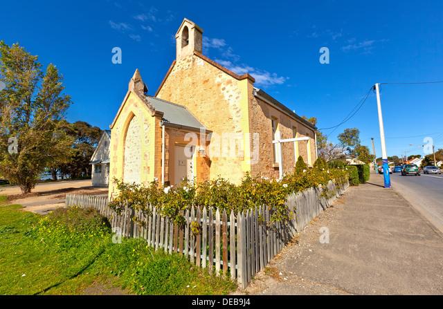 Alte Kirche in der Murray River Township von Goolwa South Australia Stockbild