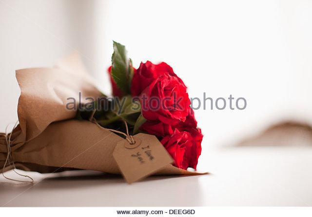 Nahaufnahme von roten Rosen mit Geschenkanhänger - Stock-Bilder