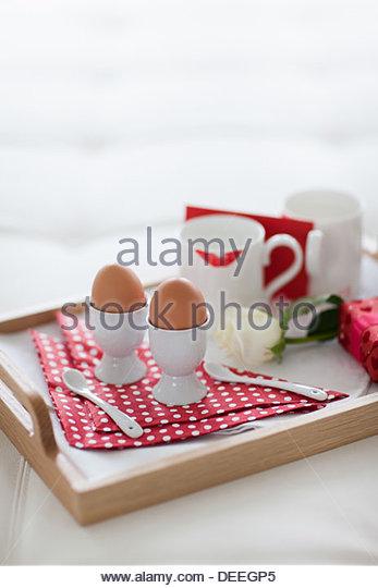 Valentinstag Frühstückstablett Stockbild