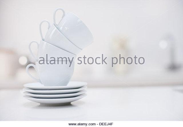 Stapel von Kaffeetassen Stockbild