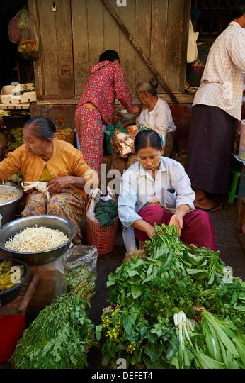Gemüsemarkt, Bogyoke Aung San Market, Yangon (Rangoon), Myanmar (Burma), Asien Stockbild