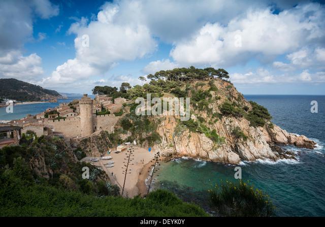 Stadt und Burg am Meer, Tossa de Mar, Costa Brava, Katalonien, Spanien Stockbild