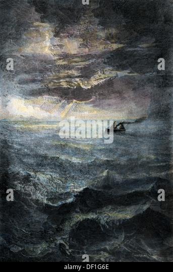 Passagierdampfer auf See, Ende 1800 s. Stockbild