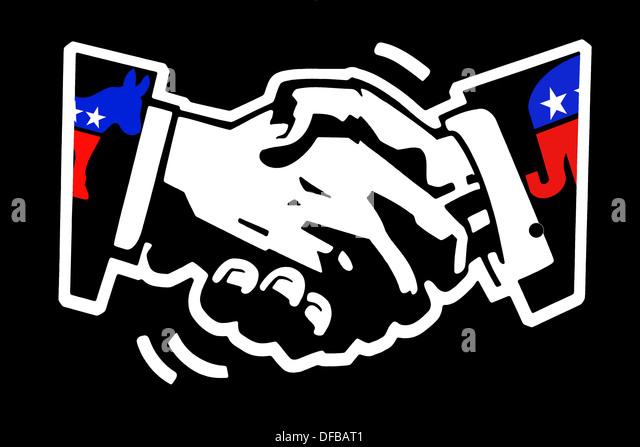 Schablone Zeichnung weiß auf schwarz gestrichenen Wand des Händeschüttelns mit demokratischen Esel Stockbild
