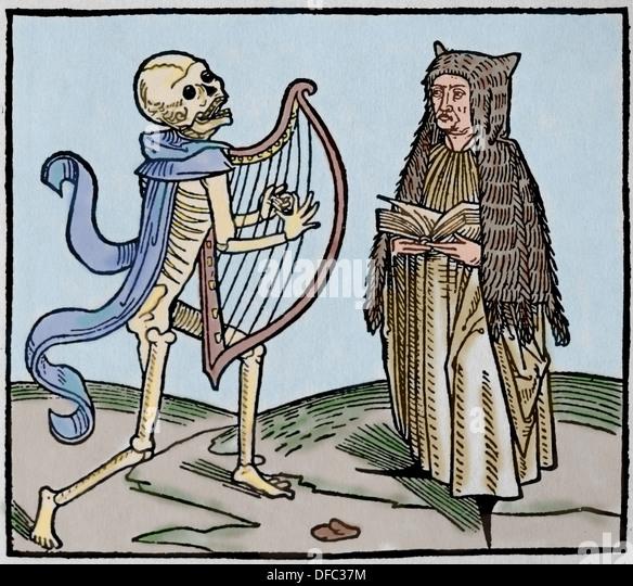 Mittelalterliche Periode. Europe.14th Jahrhunderts. Tanz des Todes. Allegorie der Universalität des Todes. Stockbild
