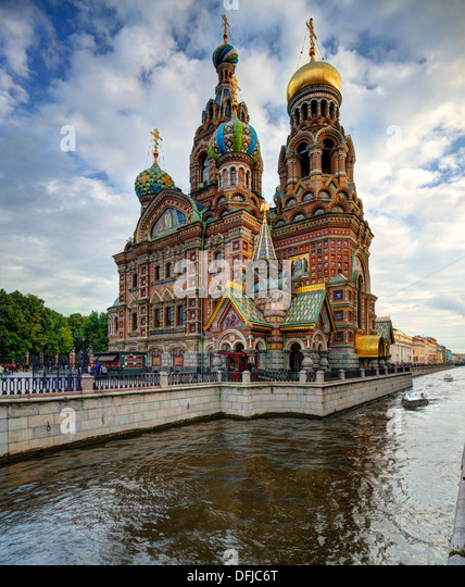 Kirche des Retters auf Blut in St. Petersburg, Russland. Stockbild