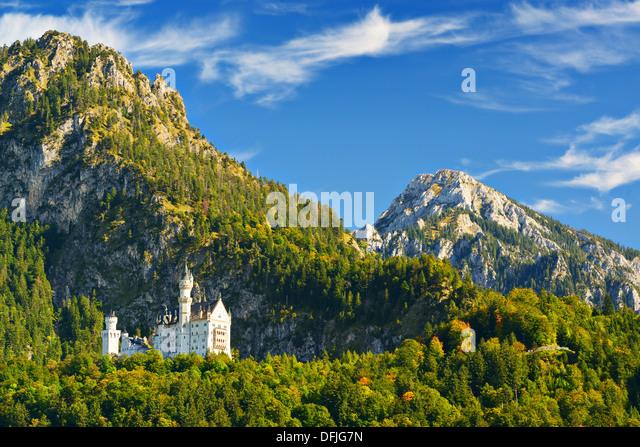 Schloss Neuschwanstein in den Bayerischen Alpen Deutschlands. Stockbild