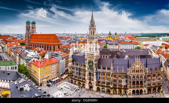 München Skyline im Rathaus. Stockbild