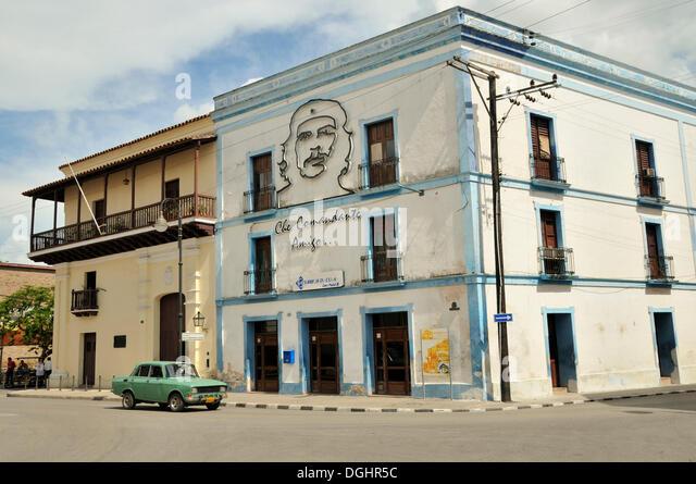 """Bild von Ernesto """"Che"""" Guevara auf einer Hausfassade, revolutionärer Propaganda, Camagueey, Kuba, Stockbild"""