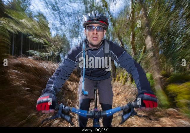 Männliche Mountainbiker. Stockbild