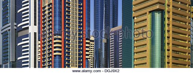 Bunte Häuser in Dubai. Stockbild