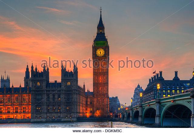 Big Ben und die Houses of Parliament im Winter Sonnenuntergang. Stockbild