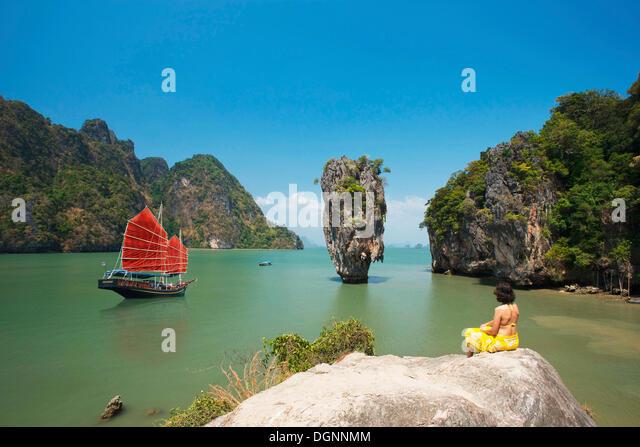 Müll in Phang Nga Bucht, James Bond Insel, Phuket, Thailand, Asien Stockbild