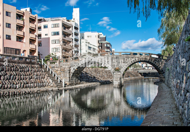 "Nagasaki, Japan an der Brille ""Megane"" Bridge. Stockbild"