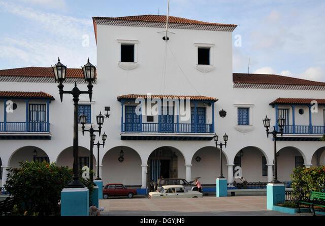 Fidel Castro Balkon, Rathaus, Parque Cespedes, alte Stadt, Santiago De Cuba, Kuba, Karibik, Mittelamerika Stockbild