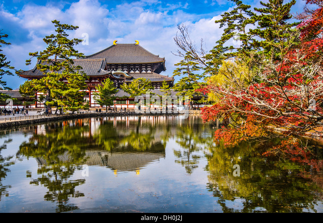Todaiji Tempel im Herbst in Nara, Japan. Stockbild