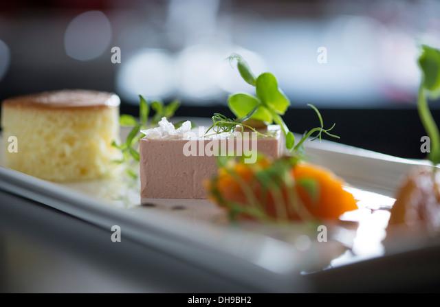 Pastete, Brötchen und Marmelade Ood aus einem fine dining restaurant Stockbild