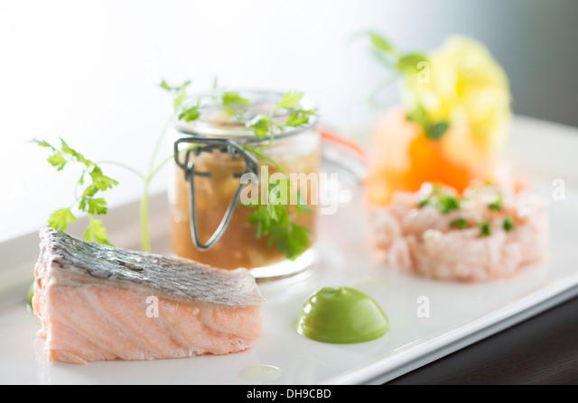 Meeresfrüchte Fisch aus einem fine dining restaurant Stockbild