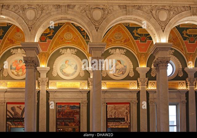 Die große Halle in der Library of Congress, Washington DC, USA Stockbild