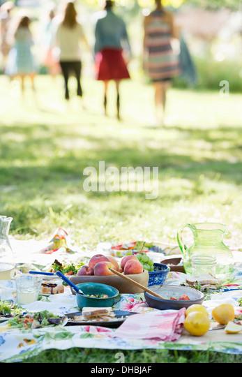 Eine Gruppe von Erwachsenen und Kinder sitzen auf dem Rasen im Schatten eines Baumes. Ein Familienfest. Stockbild