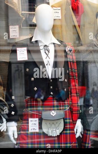 England, London, Schaufenster, Herren Kilt Stockbild