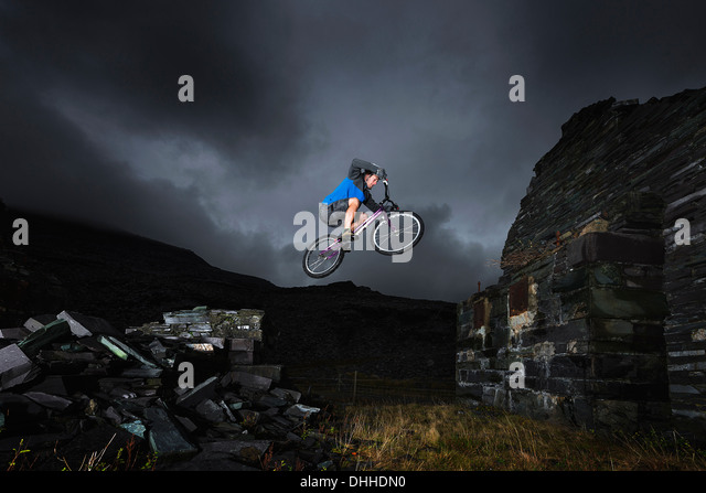 Freestyle-Radfahren, Llanberis, North Wales, UK Stockbild