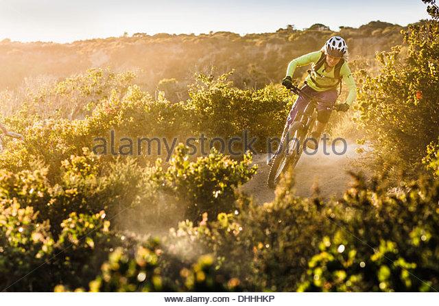 Junge Frau Mountainbiken auf Feldweg, Monterey, Kalifornien, USA Stockbild