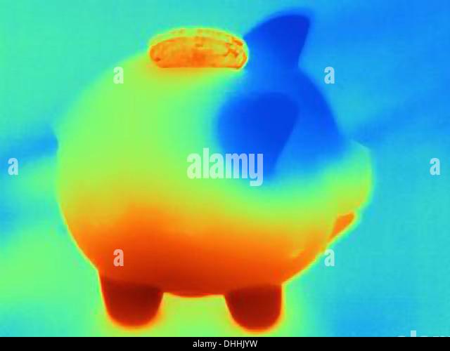 Thermische Foto Spardose mit Münze Stockbild