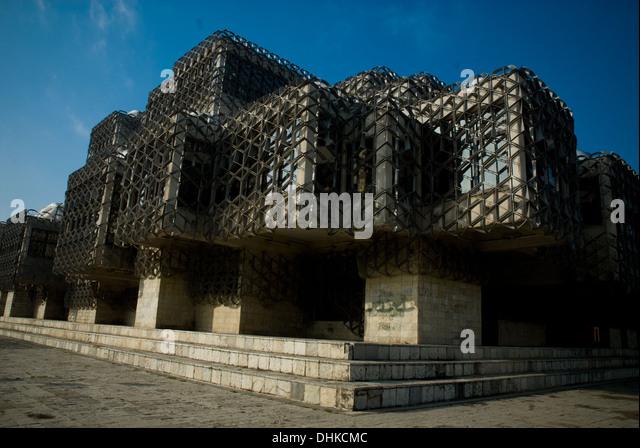 Dieses Bild zeigt die National Public Library in Prishtina Stadt. Es ist mit Mutter Teresa Street entfernt. Kosovo Stockbild