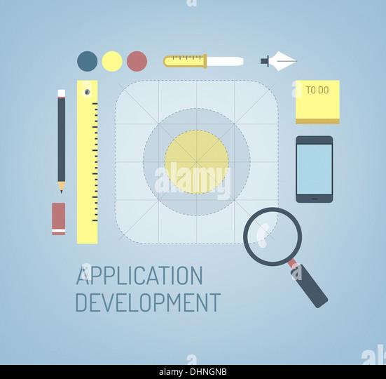 Moderne Illustration Konzept der Suche, Kreation und Entwicklung verarbeiten ein neues Programmsymbol für mobile Stockbild