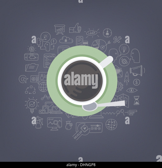 Moderne Illustration Konzept denken, Ideenfindung und Entwicklung und marketing-Ideen beim Kaffeetrinken Stockbild
