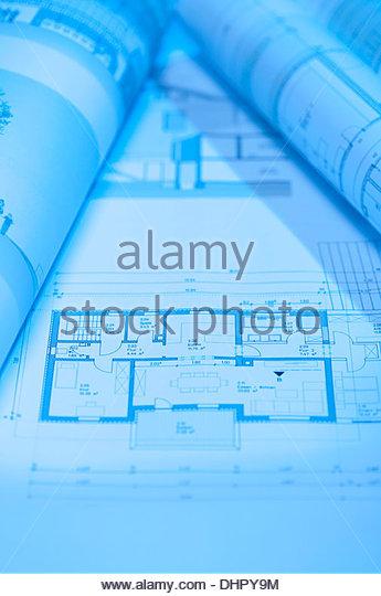 Architektonischen Entwurf zeichnen Grundriss Haus Stockbild