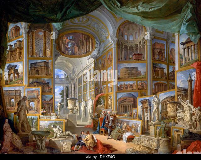 Antike Rom - von Giovanni Paolo Panini, 1757 Stockbild