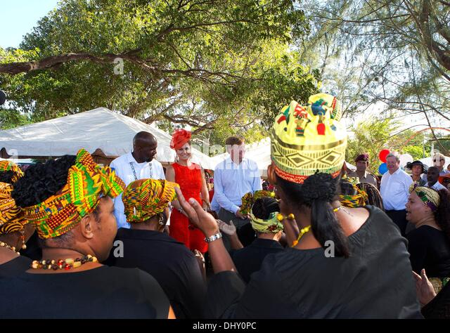 St. Eustatius, Karibik. 15. November 2013. HM König Willem-Alexander und Maxima HM Königin Hazel Plantation Stockbild