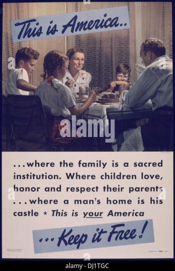 DAS IST AMERIKA... WO IST DIE FAMILIE EINE HEILIGE INSTITUTION 766 Stockbild