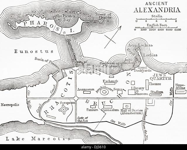 Karte von Alexandria, Ägypten. Stockbild