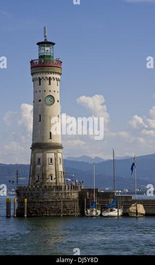 Lindauer Hafen Leuchtturm Stockbild
