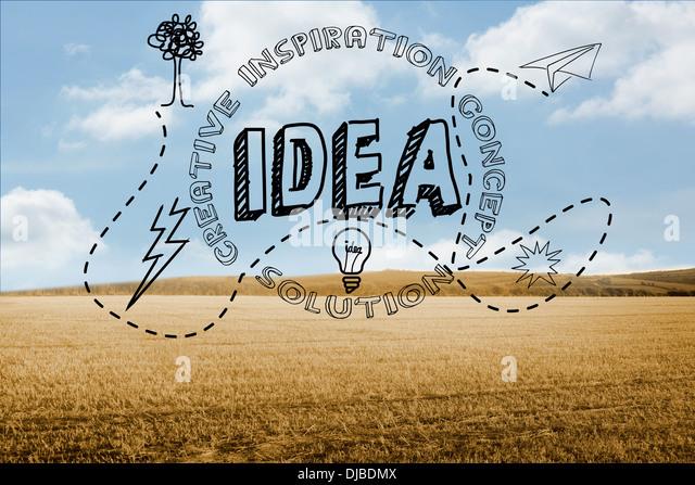 Idee-Grafik auf Land Stockbild