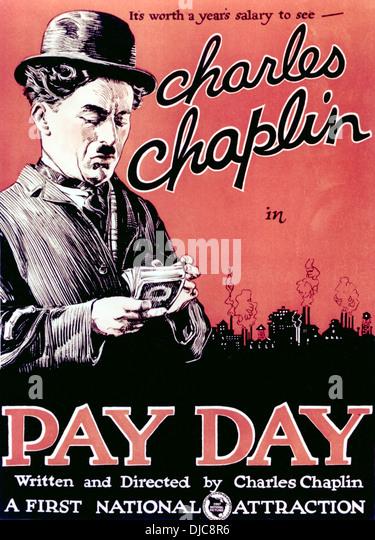Filmplakat, Zahltag, Starring Charlie Chaplin, 1922 Stockbild