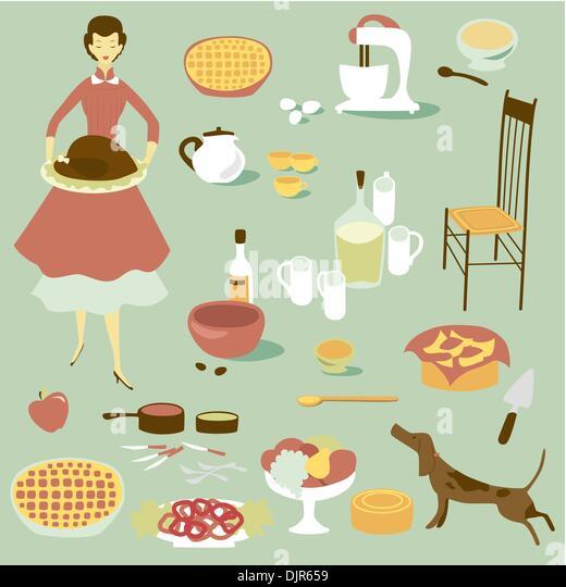 Inländische Diva und eine Reihe von Küchengeräten und Lebensmitteln Stockbild