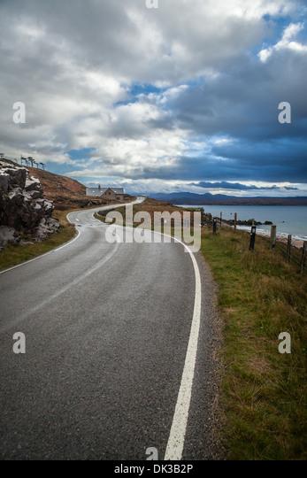 Gairloch Melvaig Küstenstraße, Wester Ross, Highlands, Schottland Stockbild