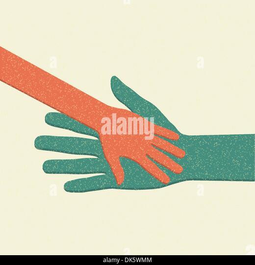 Helfende Hände. Erwachsene kümmern Kind. Vektor-Illustration. Stockbild