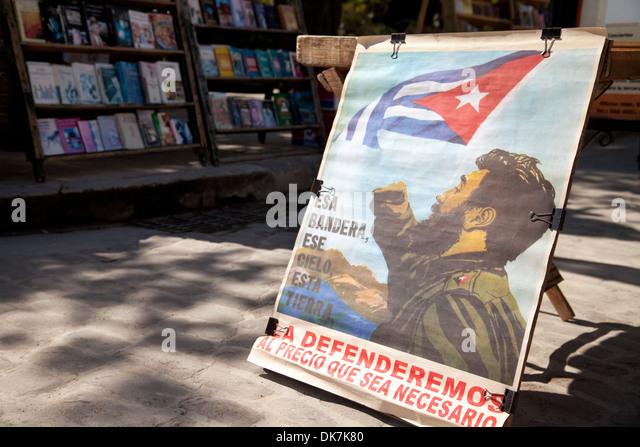 Ein Bild von Fidel Castro und die Revolution, Plaza de Armas Square Havanna, Kuba, Karibik Stockbild