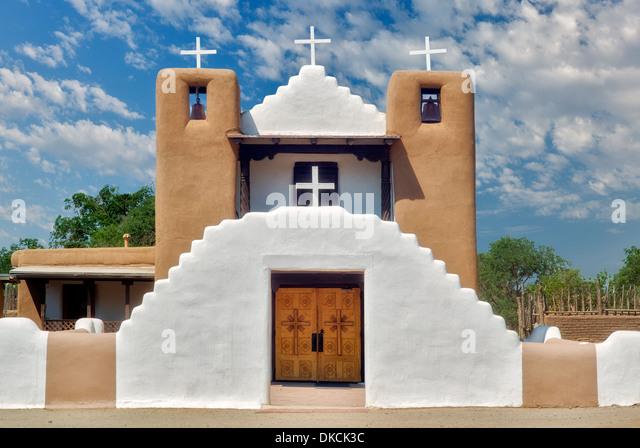 Kirche San Geronimo in de Taos Pueblo. Taos, New Mexiko. Stockbild