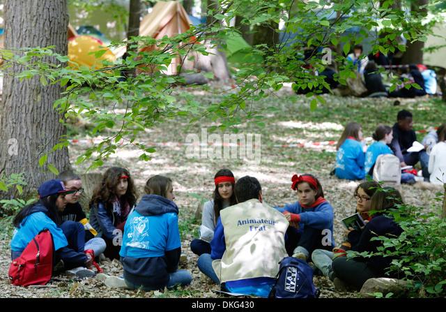 FRAT junger Katholiken sammeln, Jambville, Yvelines, Frankreich Stockbild