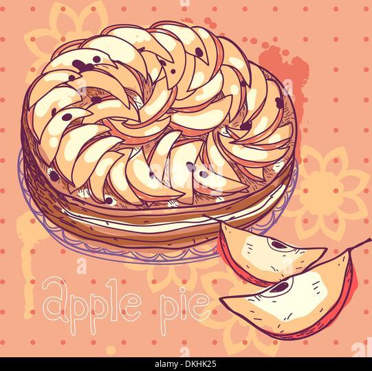 Vektor-Illustration einen Apfelkuchen Stockbild