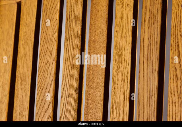 Nahaufnahme Foto aus Holzlatten Stuhl Stockbild