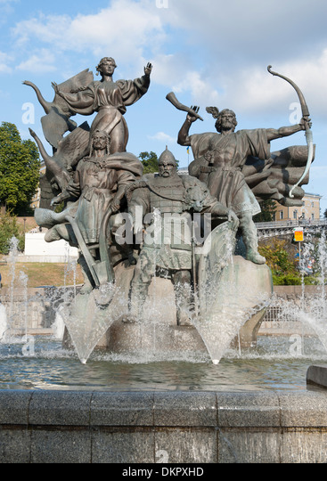 Statue der Brüder (Kyi, Shchek & Khoryv) und Schwester (Lybid), die Kiew in Unabhängigkeitsplatz in - Stock-Bilder